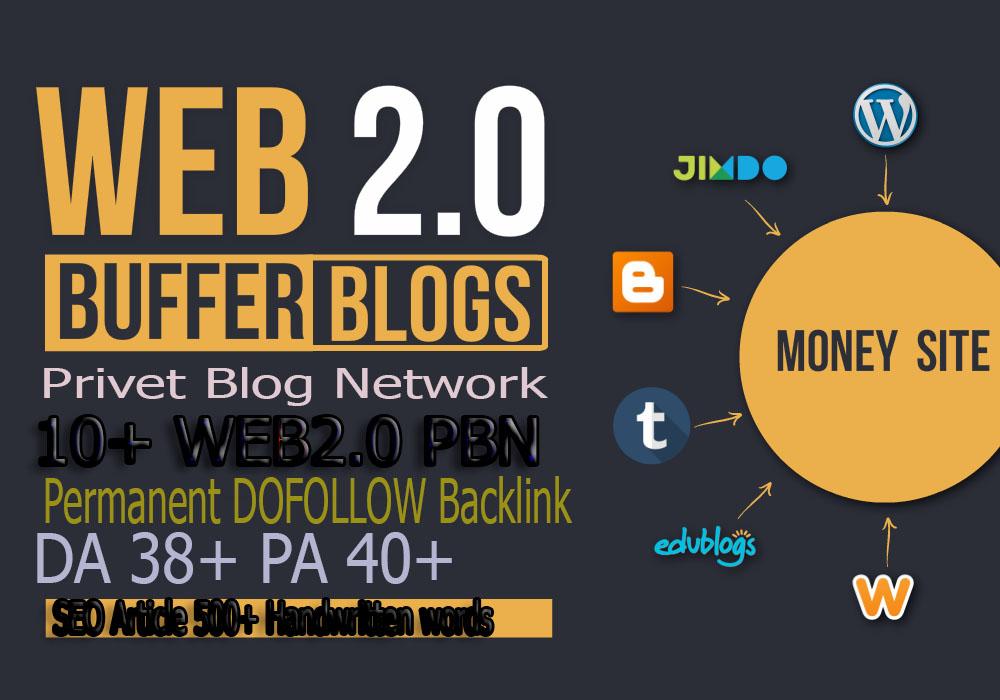 Build 10+ PBN Backlink Dofollow, privet blog service with High DA PA