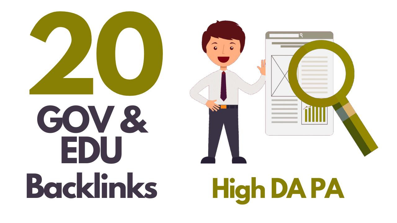 I will do manually 20 Gov and 20 edu backlinks High Da Pa