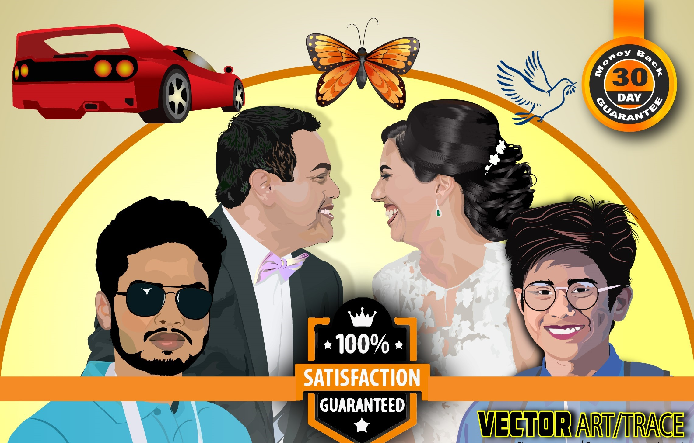 image to vector,  vector art and cartoon portrait