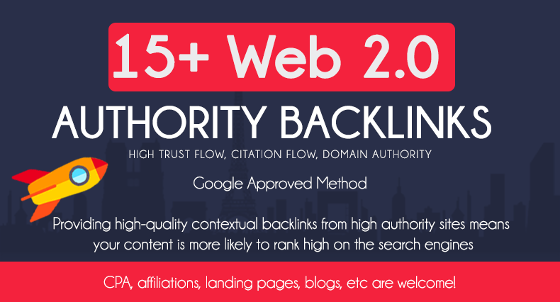 Add 15 HQ Web 2.0 Authority Backlinks