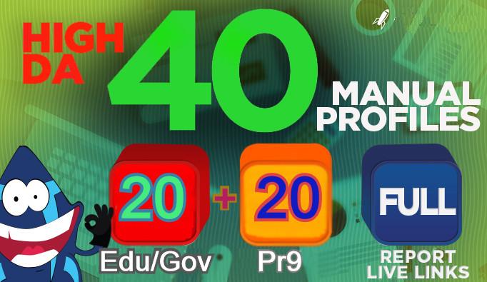 Manually 40 High Domain Authority SEO Profile Backlinks Service