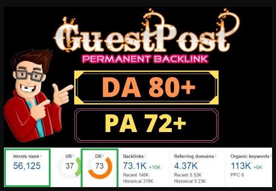 I will publish 5 guest post 80+DA 72+PA low spam rate
