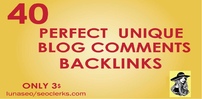 I will provide 40 dofollow blog comments backlinks