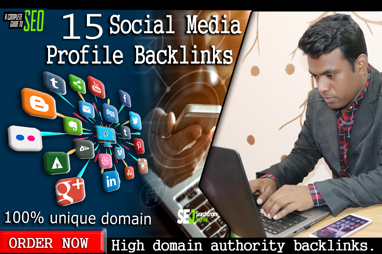 I will build 15 social profile creation Or social media backlinks,  SEO Service