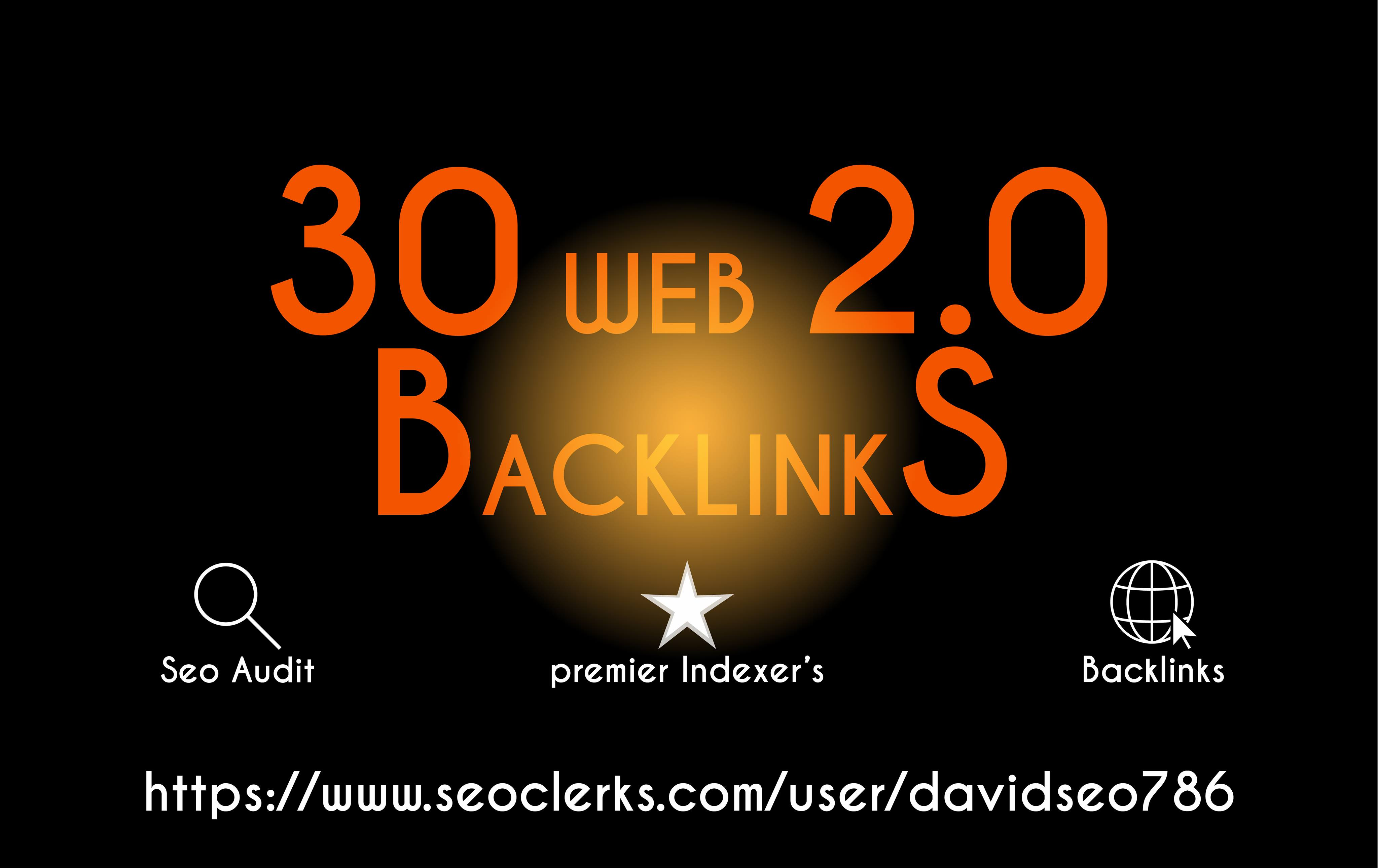 I will do 30 web 2.0 backlinks with high da pa