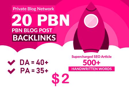 20 Premium Homepage Web 2.0 PBN Service Manual Creating High Quality SEO Do-follow Backlinks