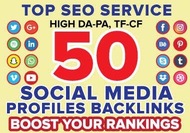 I will create 50 social media profile backlinks or profile creation