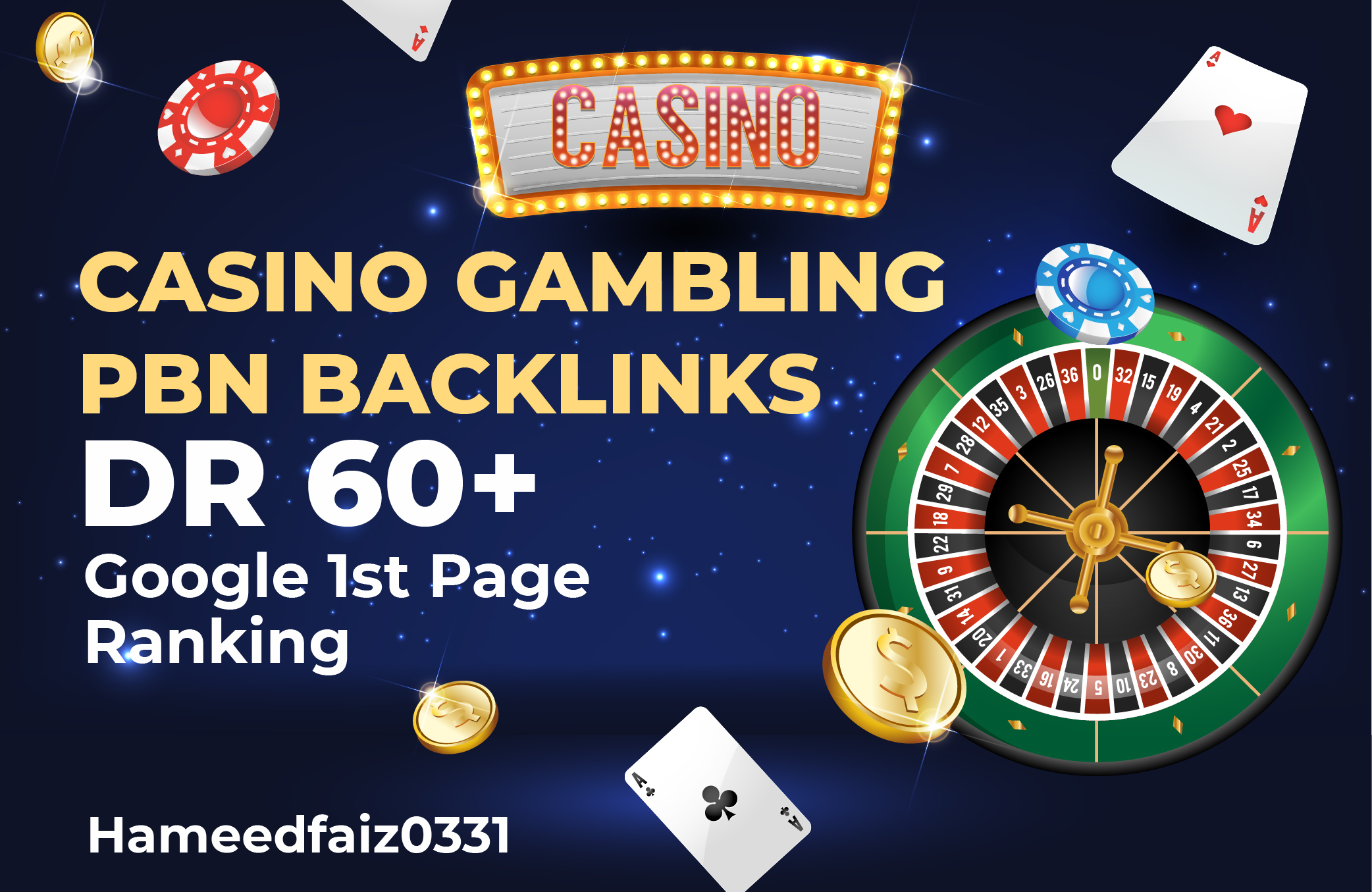 Do 20 PBN DR 60+ Casino/Poker/Gambling Dofollow Homepage Backlinks