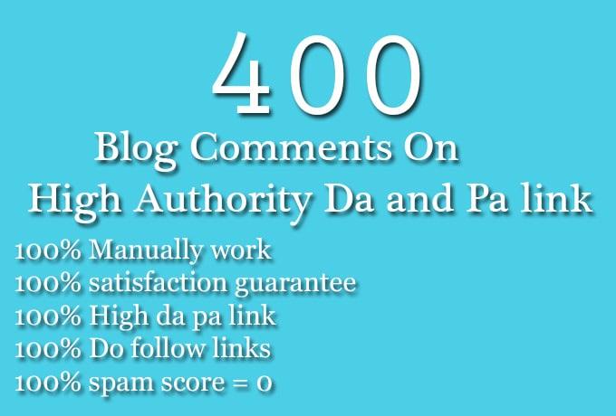 400 SEO blog comments backlinks dofollow nofollow