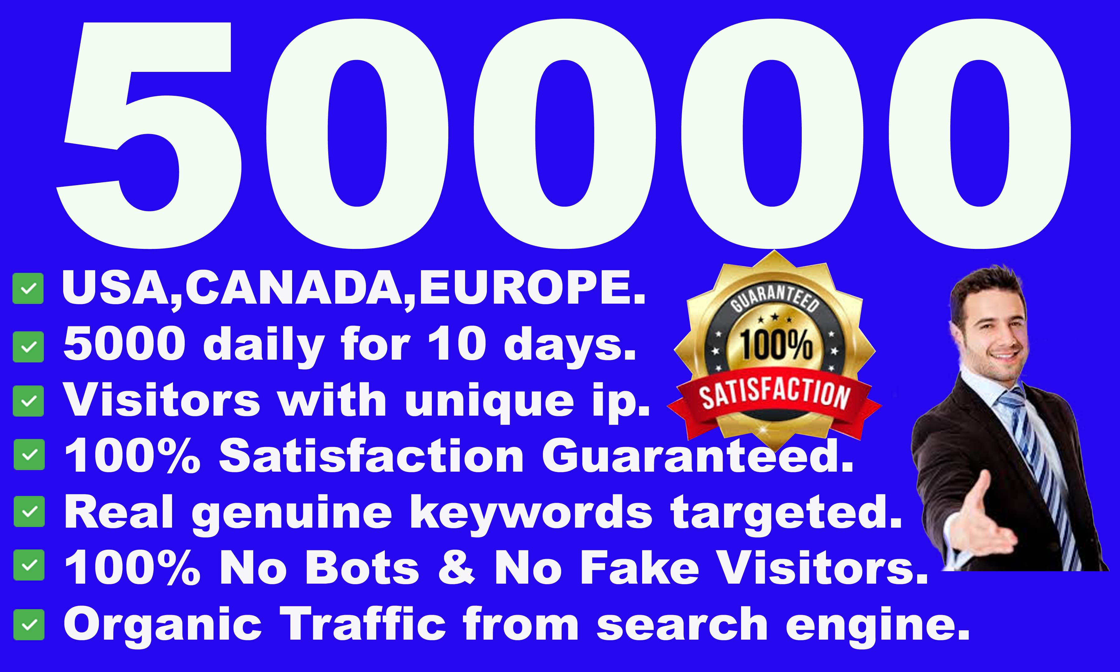 I will drive 50000 high quality visitors from USA, CANADA, EUROPE