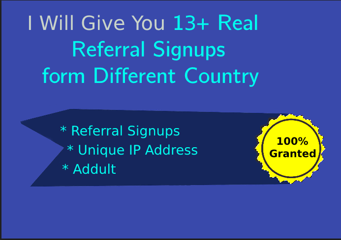 I Will Give You 30 Real Signups From Different Country for 3