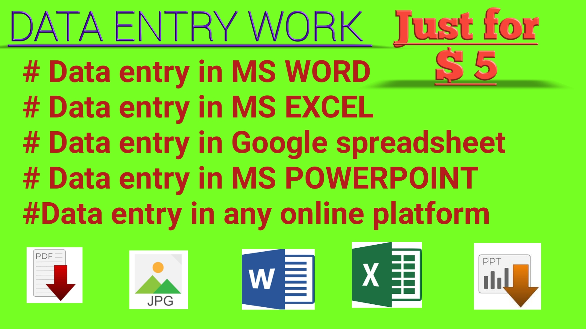 I will do any kind of data entry,  typing work for you.