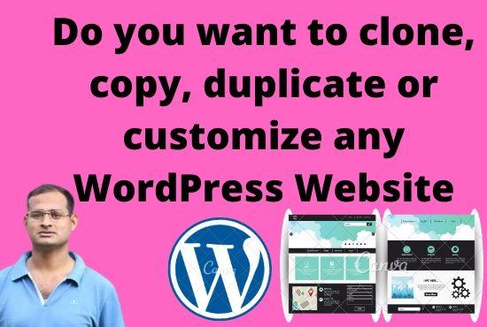 I will do website clone,  copy or duplicate a word press transfer