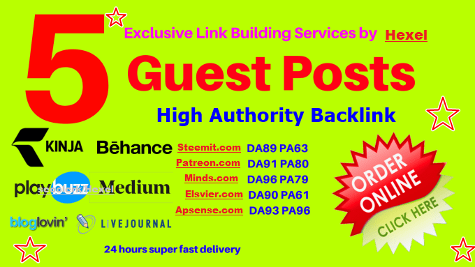 Write & Guest Post On Steemit,  Apsense, Elsvier,  Minds & Patreon. com DA90+ Sites