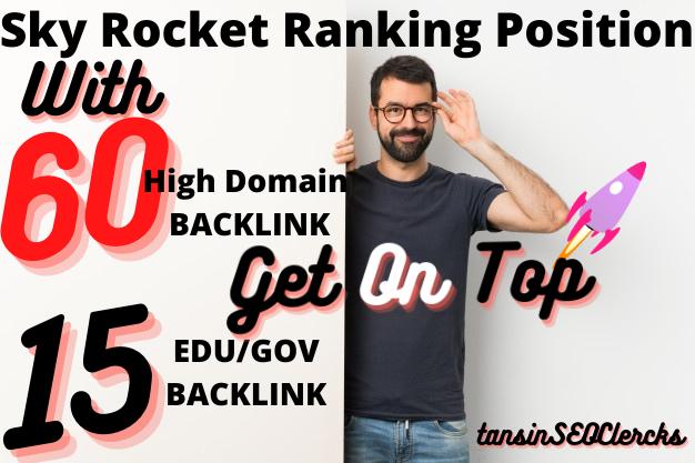 SkyRocket Your WebSite With 65 DA/PA/Pr9 Backlink +15 EDU/GOV Total 80 Unique Backlink