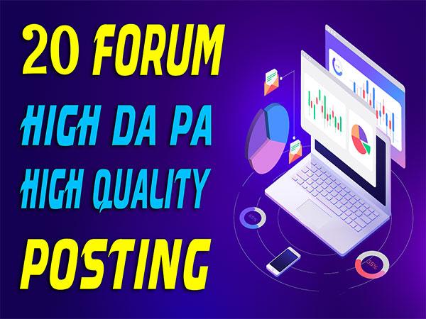 20 High Quality Forums Posting SEO Posts Backlinks
