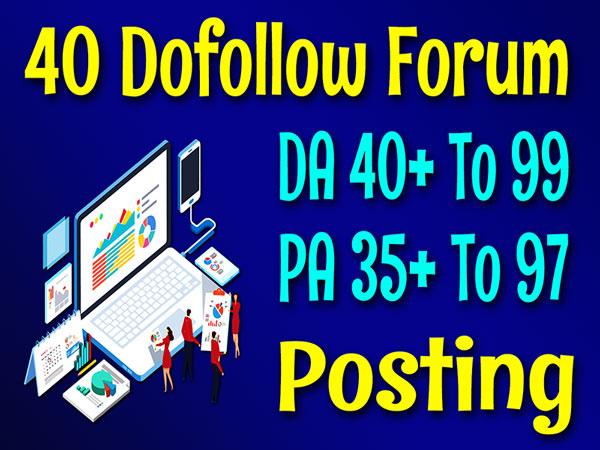 DA 40+ High Quality 40 Forum Posting Top Best SEO Backlinks