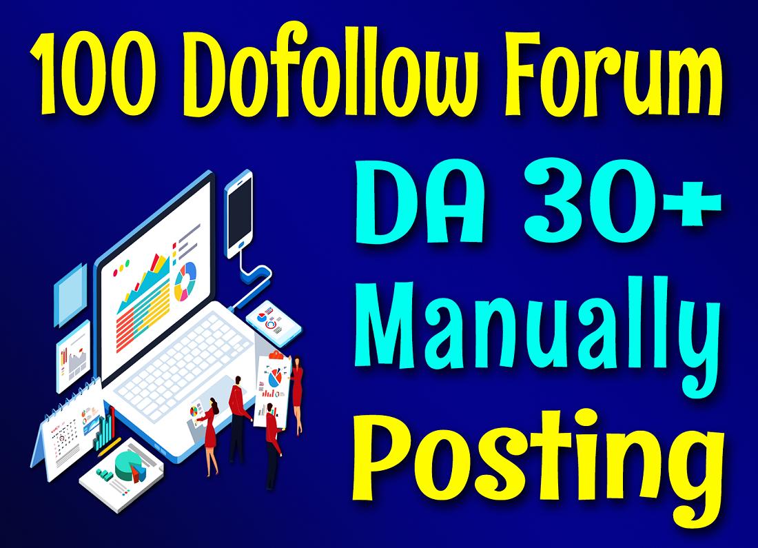 Manually Do 100 DA 30+ High Quality Forum Posting SEO Backlinks