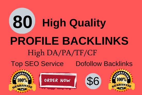 Manually create 80 pr9 da 90 dofollow profile backlinks