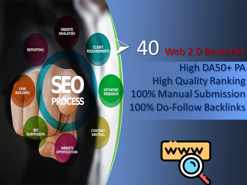 I will do 40 Web.20 Backlinks High DA50 Plus PA Do-Follow High Authority