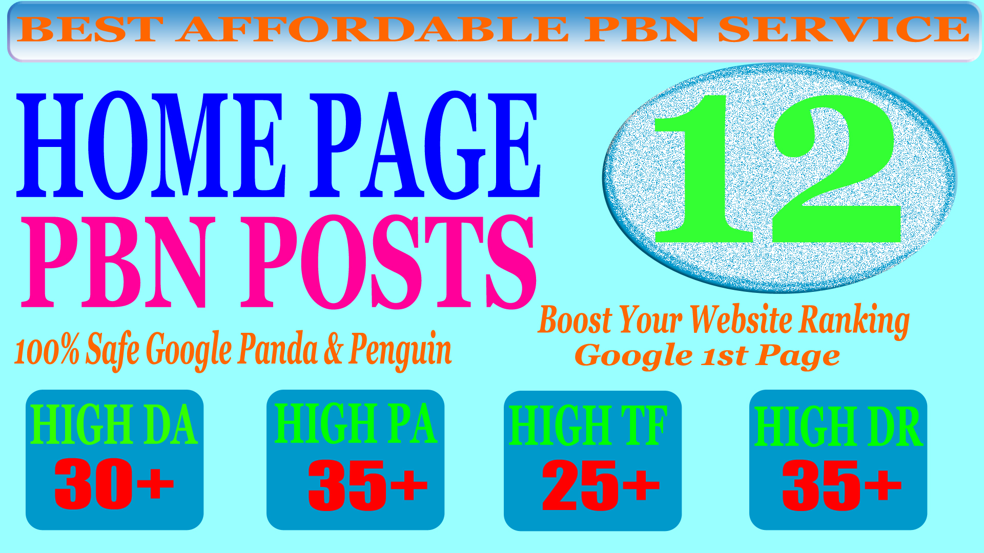 12 Homepage PBN Post with High DA PA CF TF 25+ Moz Authority Expired domain Backlinks