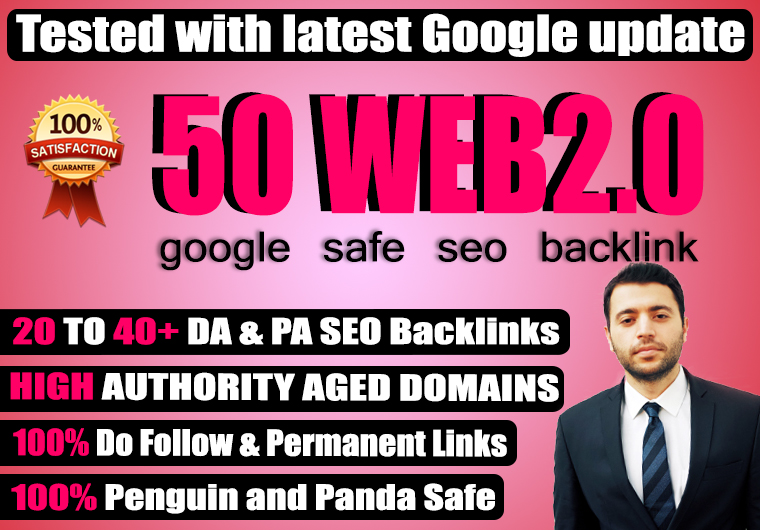 Build 50+ Permanent web2.0 Backlink with High TF,  CF,  DA,  PA with unique website