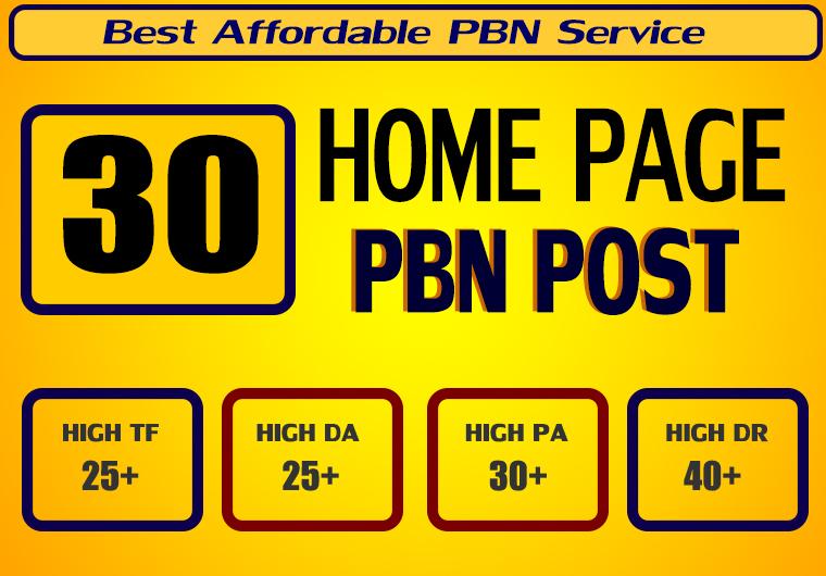 Homepage 30 PBN High 25 Plus DA PA CF TF Moz Authority Expired domain Backlinks