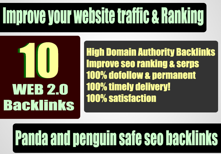 Build 10 web 2.0 45 plus DA PA TF CF Permanent Dofollow backlink