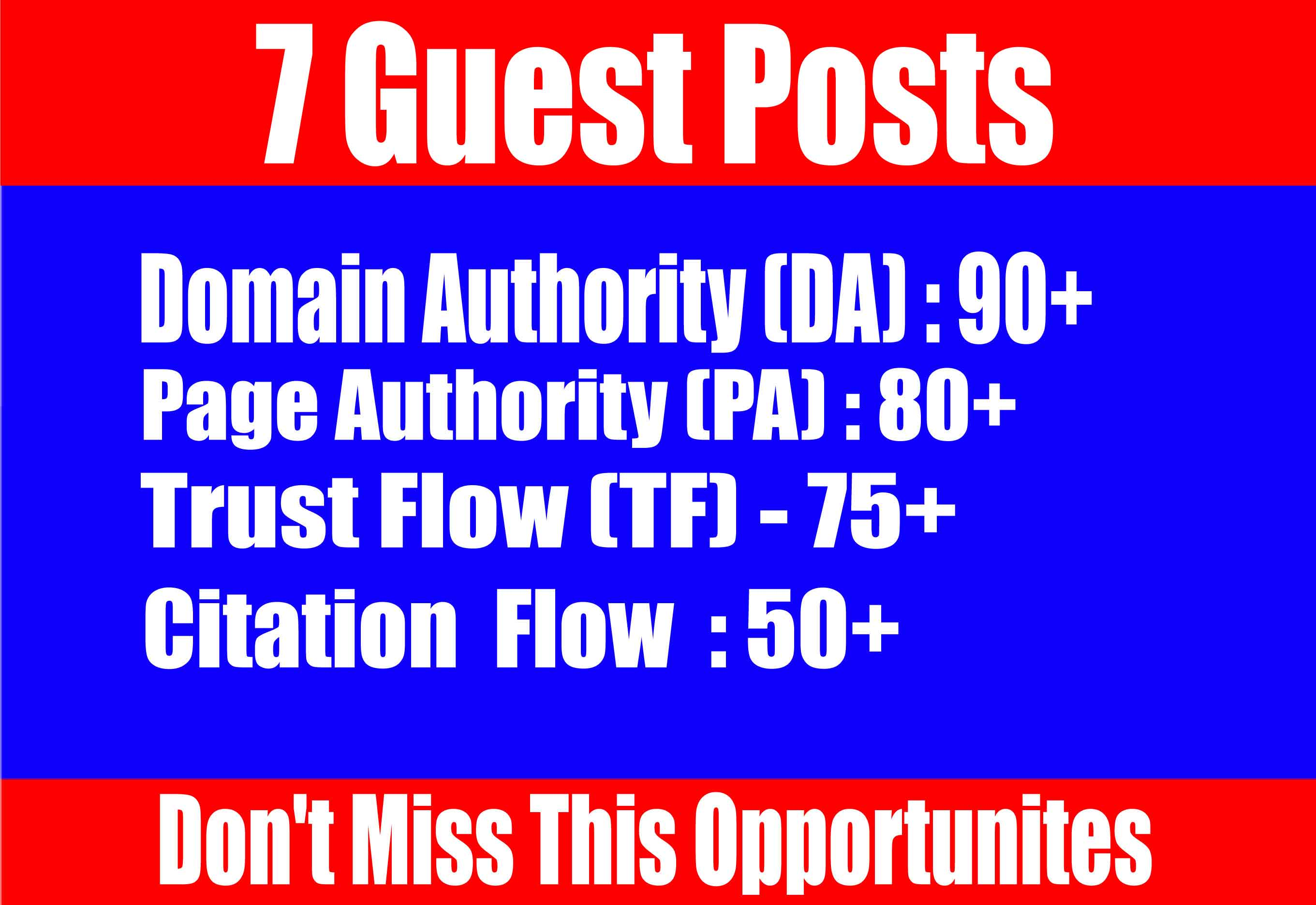 Publish 7 Guest Posts High DA 90+ websites Boost your SEO Ranking