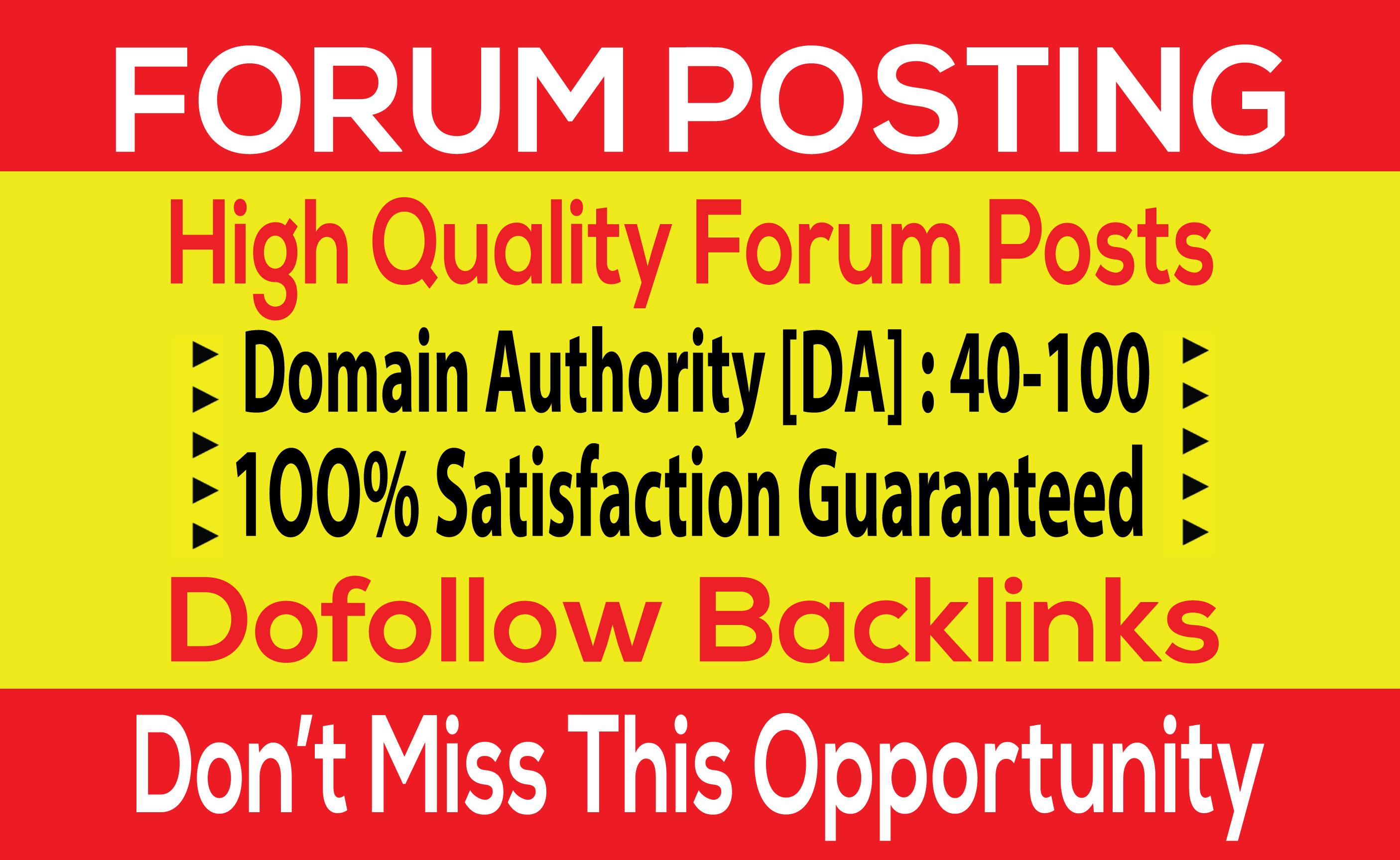 I Will Create 30 forum posting backlinks on High DA 30+PA