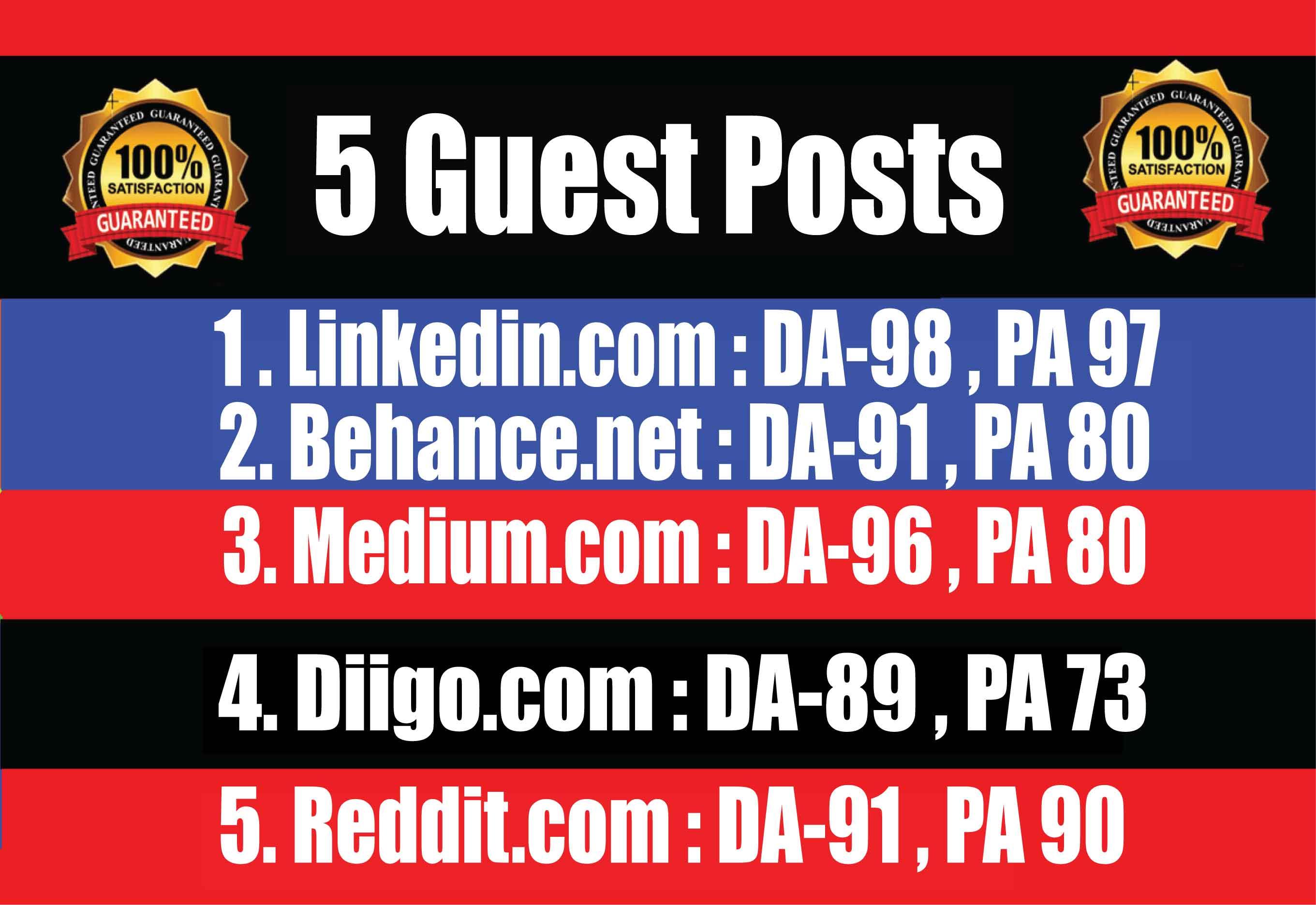 Publish 5 Guest Posts on Linkedin,  Behance,  Medium,  Diigo,  Reddit - High TF CF DA PA Blogs
