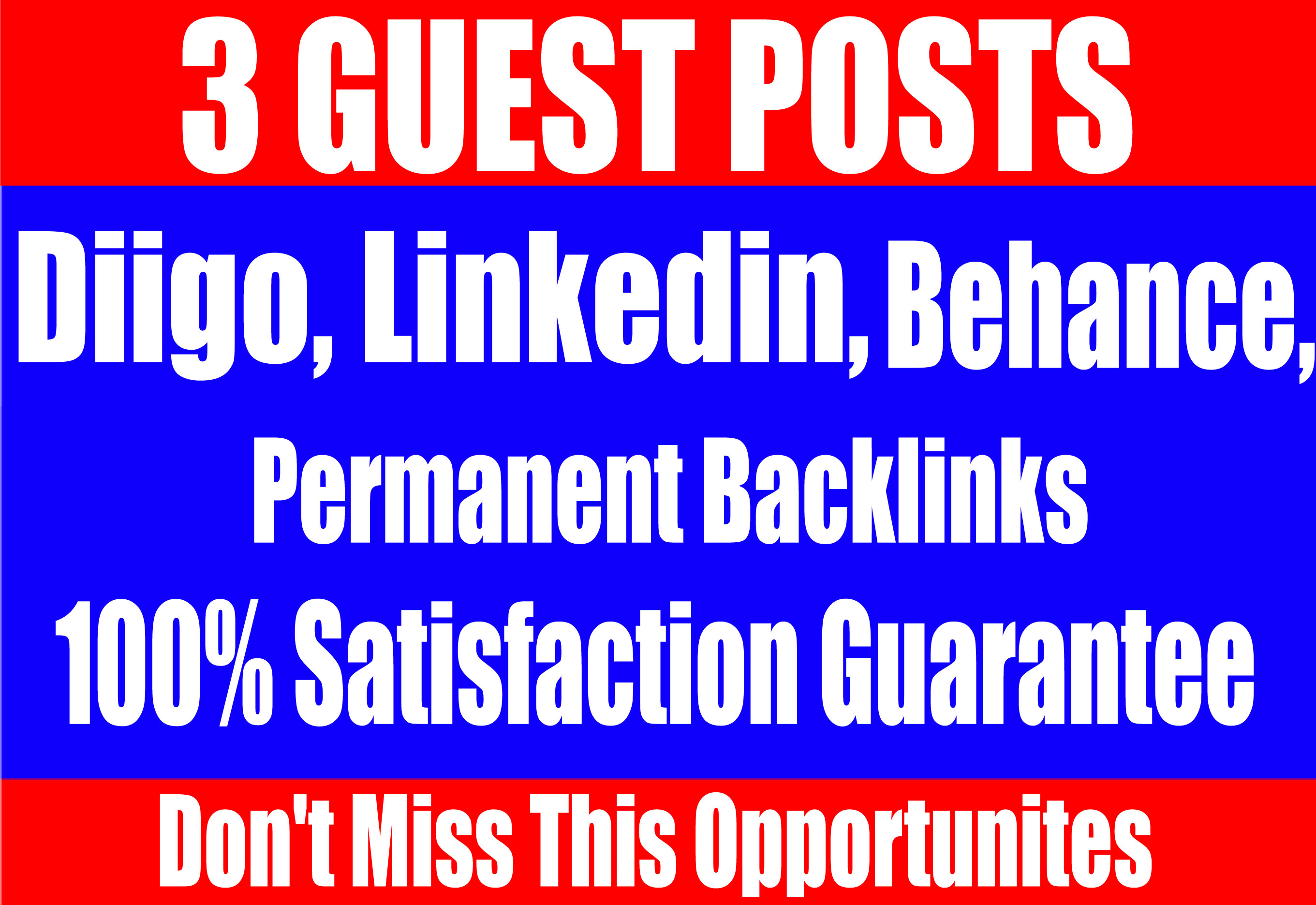 Publish 3 Guest Posts on Diigo,  Linkedin, Behance High DA-90+ websites Boost your SEO Ranking
