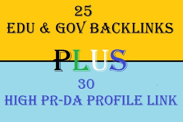 2 in 1 Seo Services Get 30 High PR High DA Profile Backlinks and 25 Edu and Gov Backlinks