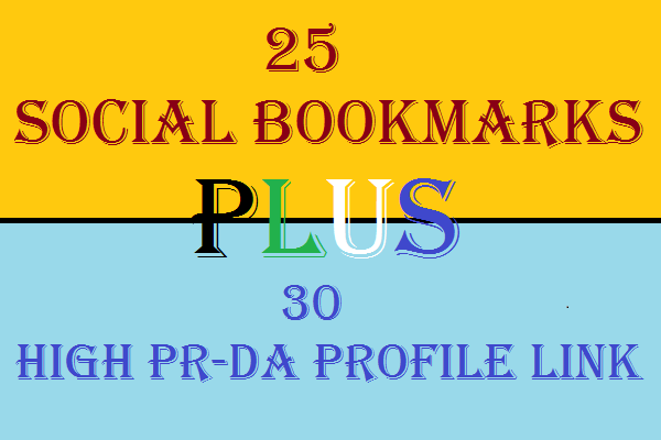 2 in 1 Seo Services Get 30 High PR High DA Profile Backlinks and 25 Social Bookmarks