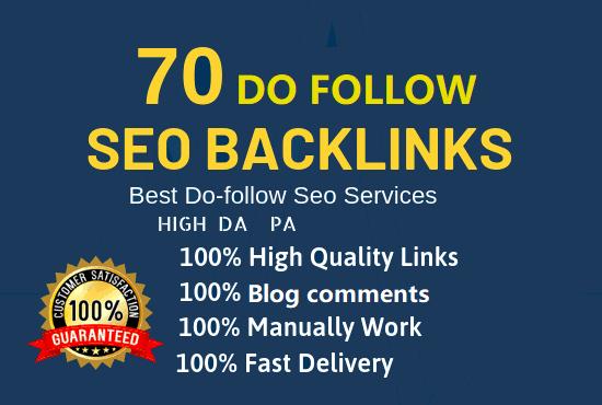 I DO Manually 70 DoFollow High DA 50 + PA 35 + Backlinks with Low spam score