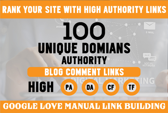 I Will provide 100 Unique Domine Authority Backlinks