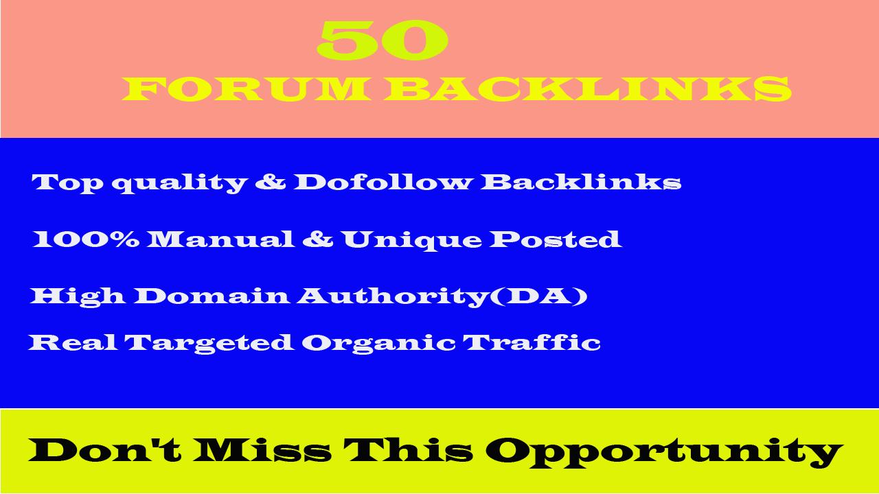 I will provide you 25 high quality dof0llow forum posting backlinks