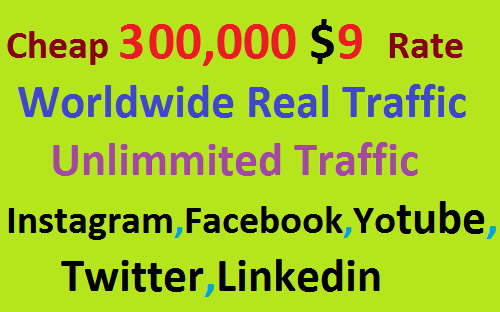 Real 300,000 Website Worldwide Traffic Visitors Instagram, Facebook, YouTube, Twitter, Linkedin