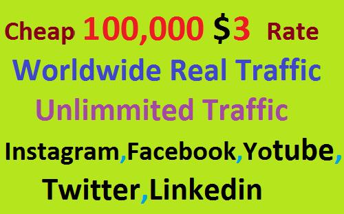 Real 100,000 Website Worldwide Traffic Visitors Instagram,Facebook,YouTube,Twitter,Linkedin