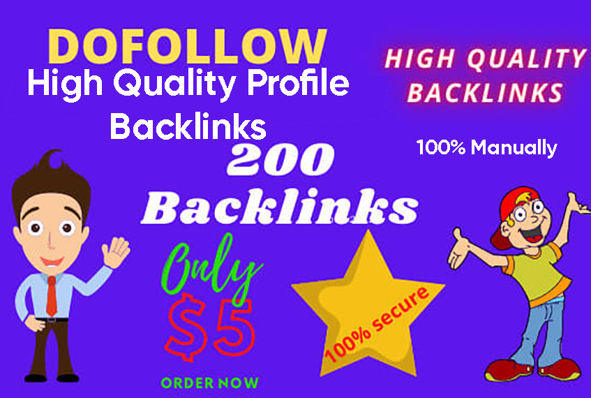 Create 200 HQ Profile Backlinks Manually For website Seo