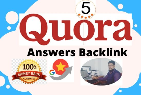 Promote website with HQ 5 Quora Answer and Clickable Backlinks