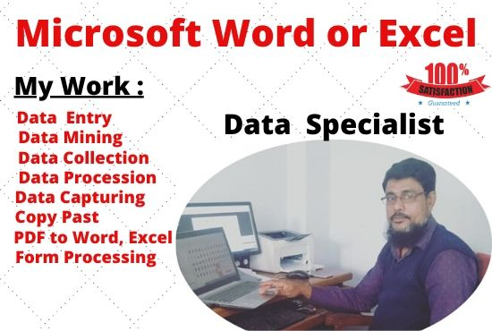 I Will Do Any Kind Of Data Entry,  Excel Entry work and be your virtual assistant for
