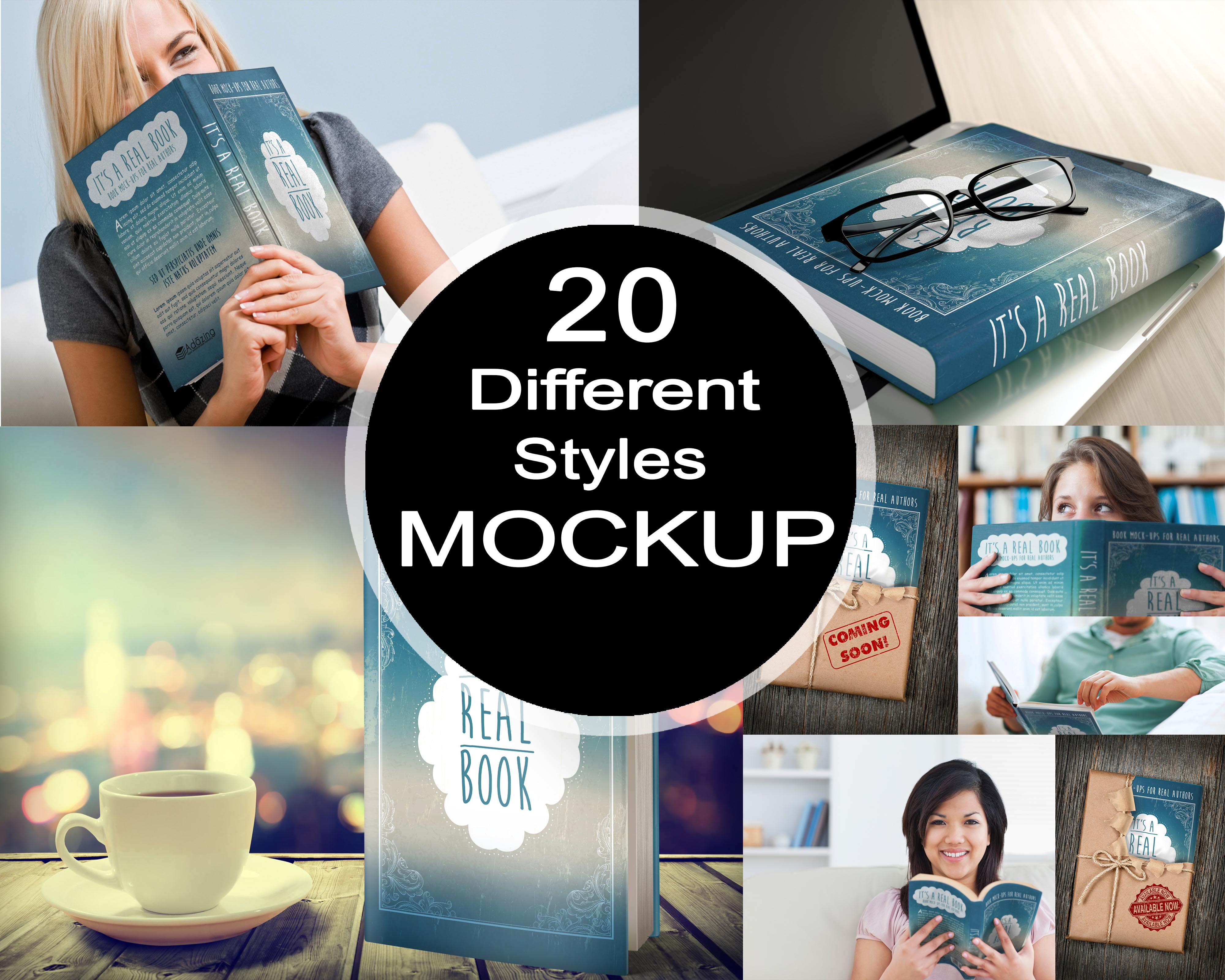 Amazing 3d book cover mockup in 20 different styles