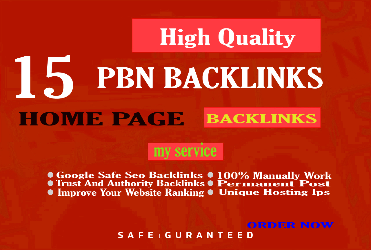 Create 15 High TF CF DA PA Homepage PBN Backlinks