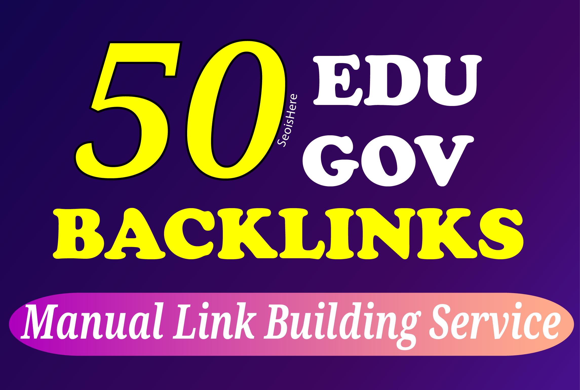 I will manually build 30 DA90+ and 20 Edu/Gov backlinks white hat SEO link building