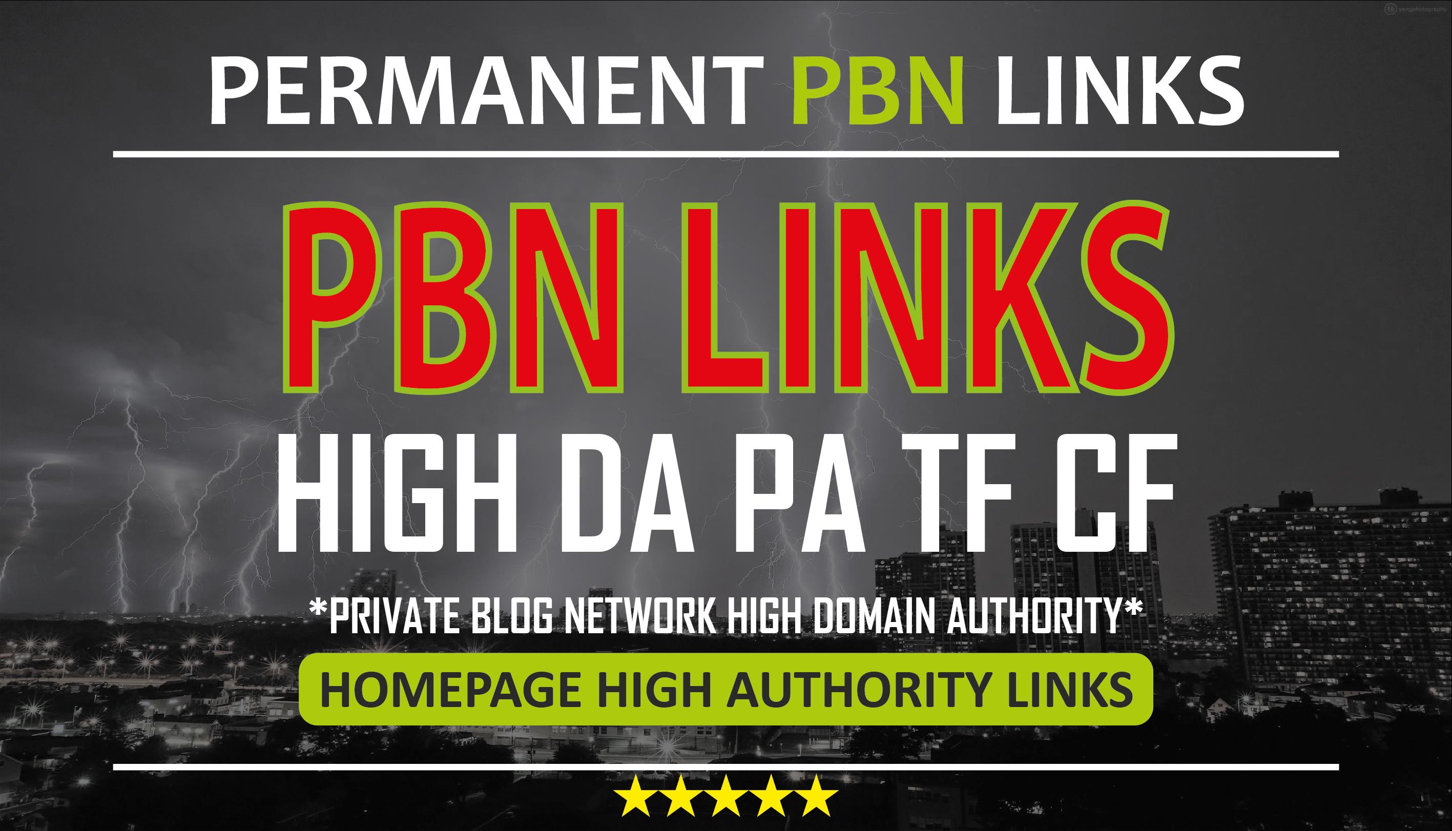 Create 10 High DA PA TF CF HomePage Dofollow PBN Backlinks
