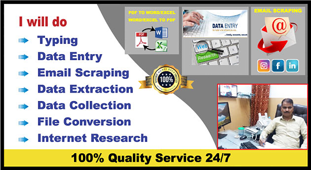 I will do data entry email scraping data mining internet research