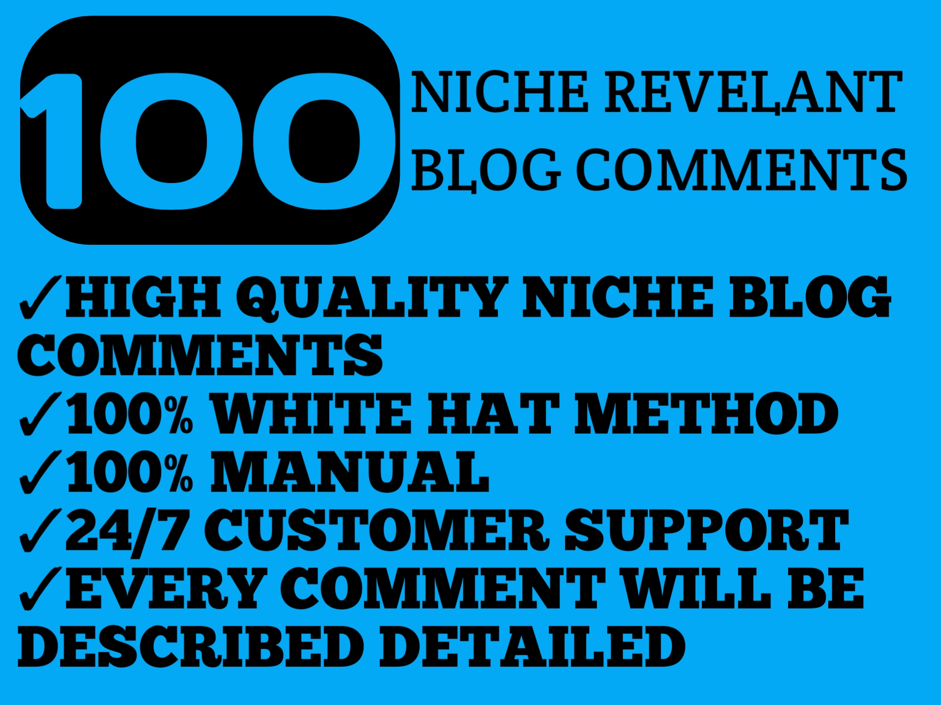 Do 100 niche relevant blog comments backlinks on high DA PA