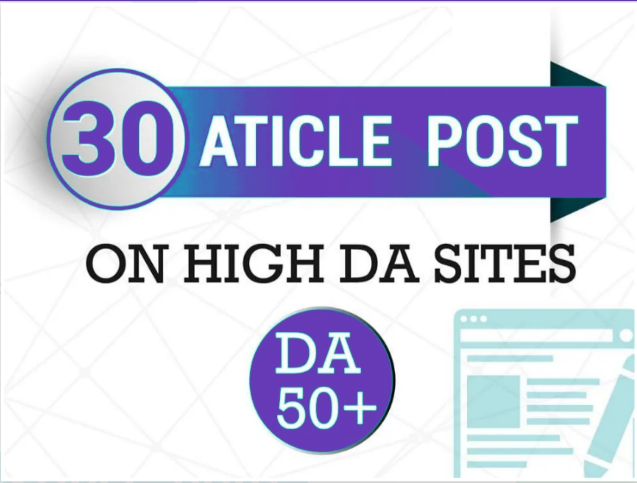 Do make 30 article submission in SEO backlinks