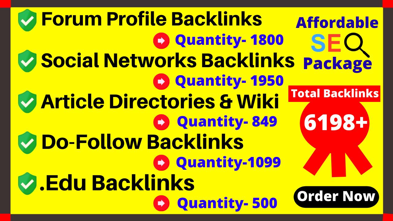 Provide You 6198+ Do-Follow, . Edu,  Wiki Article directories,  Forum,  Social & Mix platforms Backlinks